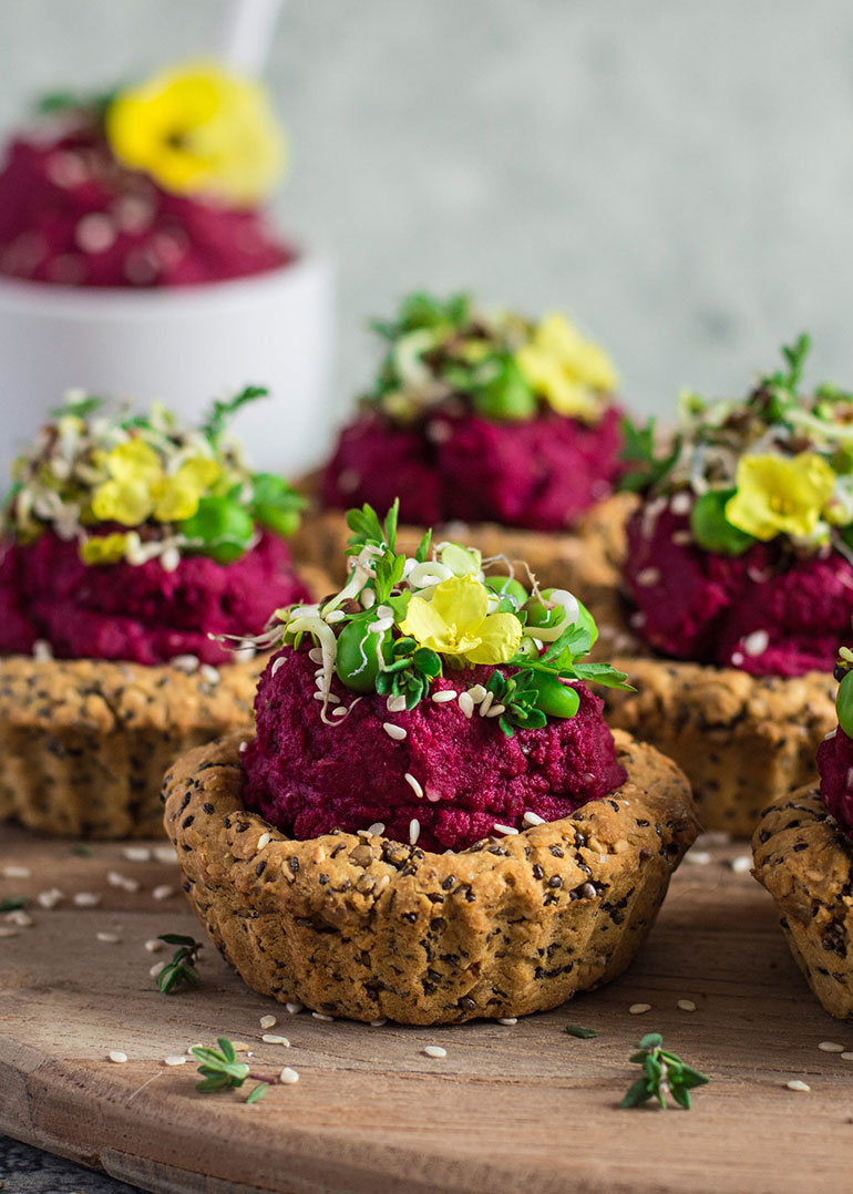 CHICKPEA FLOUR TARTS WITH PURPLE SWEET POTATO DIP
